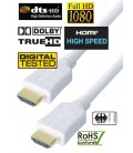 High Speed HDMI White Cable, Gold Plated Connector, 1.5m